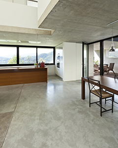 modern interior with concrete floor